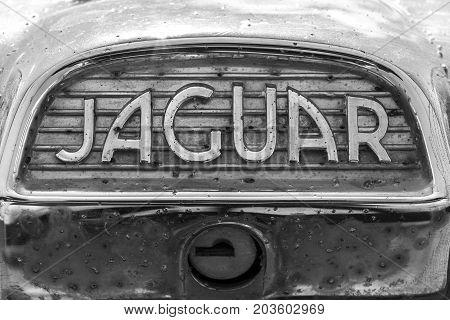 Indianapolis - Circa September 2017: Insignia and emblem from a classic 60s Jaguar IV