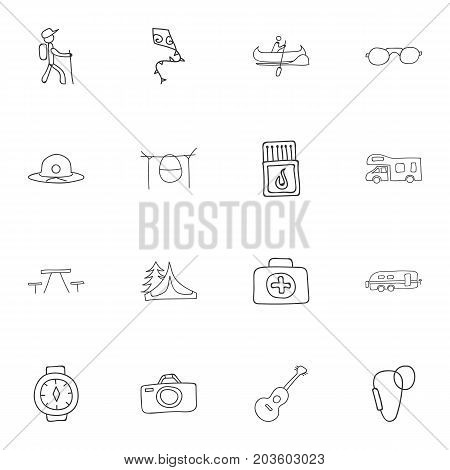 Set Of 16 Editable Travel Doodles. Includes Symbols Such As Beach Hat, Musical Instrument, Flying Toy And More