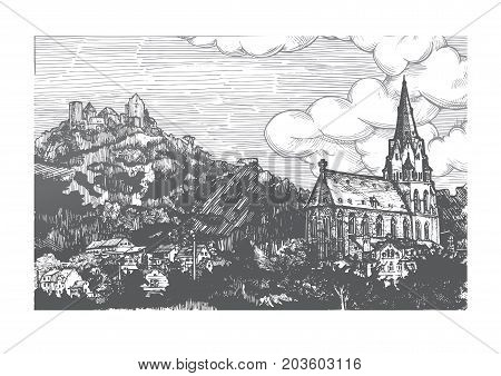 Vector illustration of old town landscape in vintage etching style. Church of Our Lady is on front Schönburg castle on the back. Oberwesel Rhine Gorge Rhineland-Palatinate Germany.