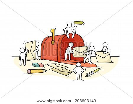 Sketch of working little people with open mailbox. Doodle cute miniature scene of workers with letters. Hand drawn cartoon vector illustration.