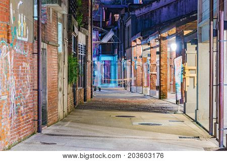 TAIPEI TAIWAN - JULY 02: This is night view of the old Chinese architecture in Bopiliao historical block a famous old area which is popular amongst tourists on July 02 2017 in Taipei