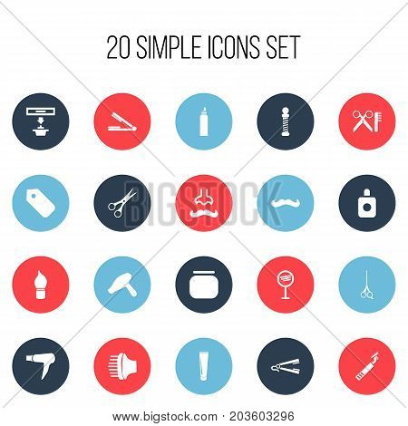 Set Of 20 Editable Barber Icons. Includes Symbols Such As Aroma, Cream Box, Drying Machine And More