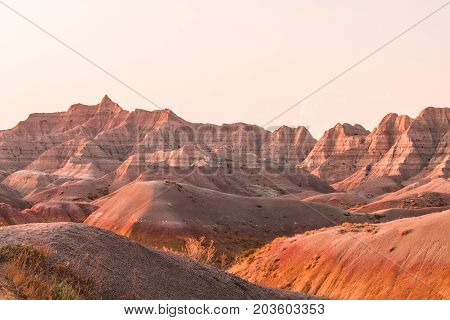 Scenic view at sunset in Badlands National Park.