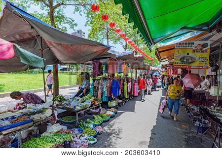 TAIPEI TAIWAN - JULY 01: View of Shuanglian morning market a popular traditional market where pople come to buy fruit and vegetables on July 01 2017 in Taipei
