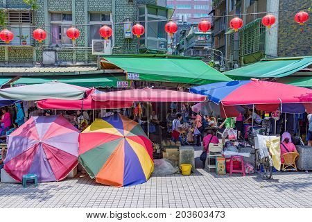 TAIPEI TAIWAN - JULY 01: This is Shuanglian morning market a popular traditional market which sells local produce such as vegetables food and other items on July 01 2017 in Taipei