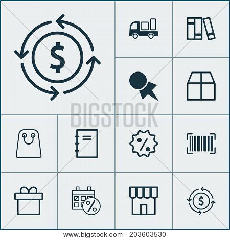 Commerce Icons Set. Collection Of Delivery, Cardboard, Spiral Notebook And Other Elements