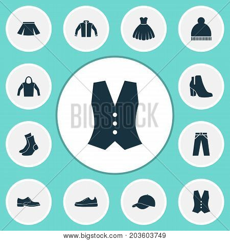 Clothes Icons Set. Collection Of Sneakers, Waistcoat, Trilby And Other Elements