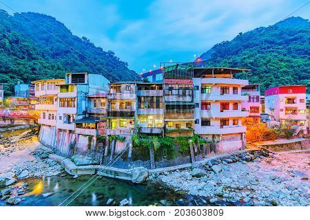 Evening view of Shiding district old riverside architecture in Taiwan
