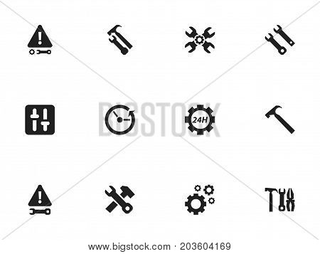 Set Of 12 Editable Repair Icons. Includes Symbols Such As Warning, Settings, Handle Hit