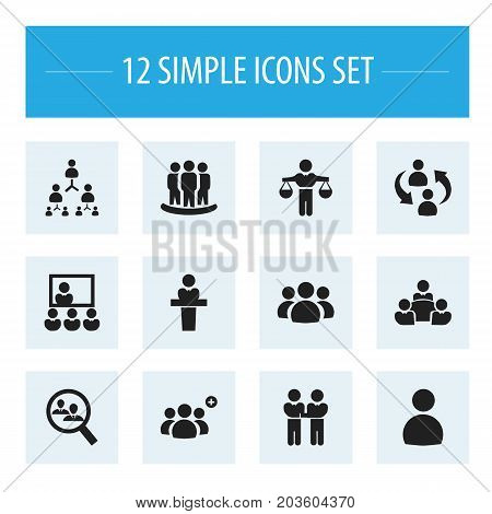 Set Of 12 Editable Team Icons. Includes Symbols Such As Speaker, Publicity, Friendship And More