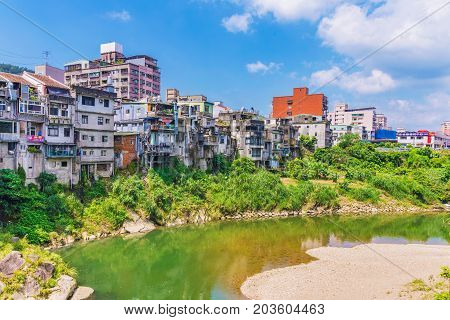 TAIPEI TAIWAN - JUNE 29: This is the architecture and riverside area of Shenkeng old street an historic area in the countryside on June 29 2017 in Taipei
