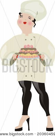 High heeled woman pastry chef with decorated cake