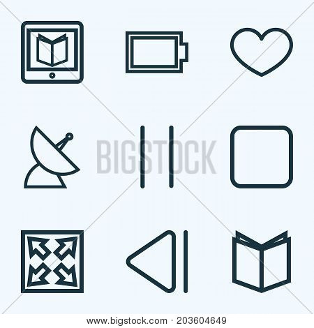 Multimedia Outline Icons Set. Collection Of Previous, Learning, Pause And Other Elements