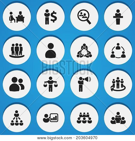 Set Of 16 Editable Cooperation Icons. Includes Symbols Such As Commander, Debate, Finding Solution