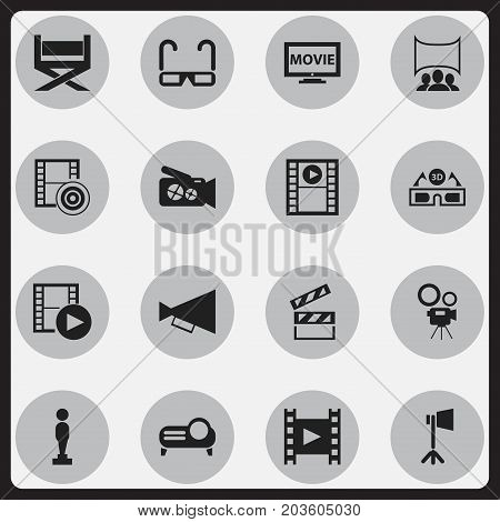 Set Of 16 Editable Cinema Icons. Includes Symbols Such As Movie Camera, Stool, Film Glasses And More