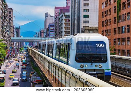 TAIPEI TAIWAN - JUNE 27: This is a view of an MRT train in the Zhongxiao fuxing downtown area on June 27 2017 in Taipei