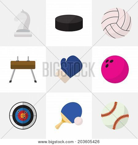 Set Of 9 Editable Exercise Flat Icons. Includes Symbols Such As Washer, Kegling, Darts And More