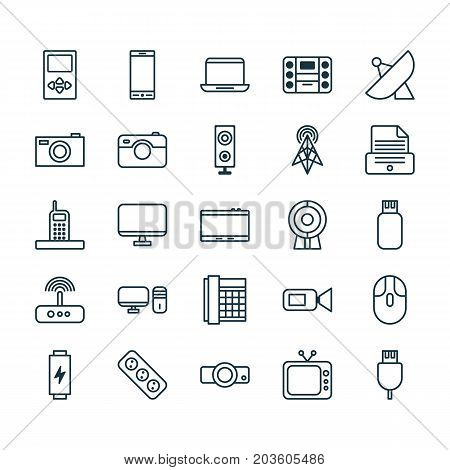 Device Icons Set. Collection Of Universal Serial Bus, Notebook, Player And Other Elements