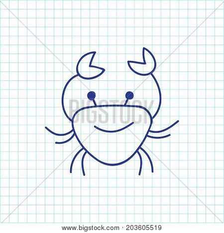 Vector Illustration Of Zoology Symbol On Crab Doodle