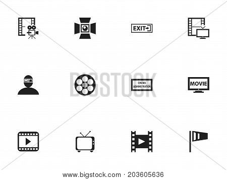 Set Of 12 Editable Movie Icons. Includes Symbols Such As Spectator, Outlet, Pennant And More
