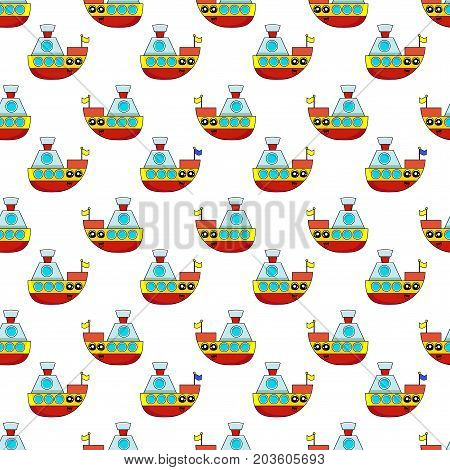 Cute kids pattern for girls and boys. Colorful ship on the abstract bright background create a fun cartoon drawing.The background is made in blue colors. Boat pattern. Childish pattern. Boys pattern. Kids pattern. Baby pattern.