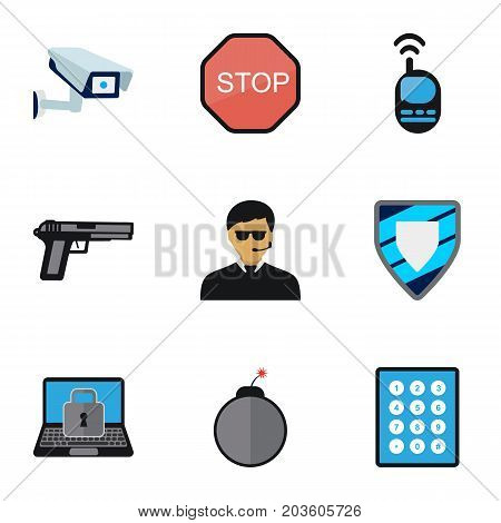 Set Of 9 Editable Safety Flat Icons. Includes Symbols Such As Password, Security Camera, Lock And More