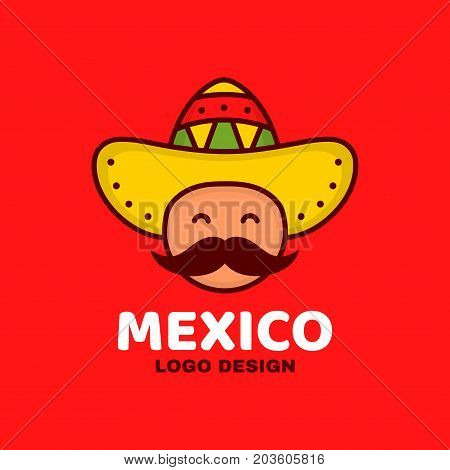 Cute happy smiling mexico man face in national sombrero hat and mustache logo template design. Vector modern line outline flat style cartoon character illustration icon. Isolated on white background.