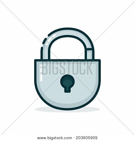 Padlock. Vector modern line outline flat style cartoon illustration icon. Isolated on white background. Lock, safe, guard concept