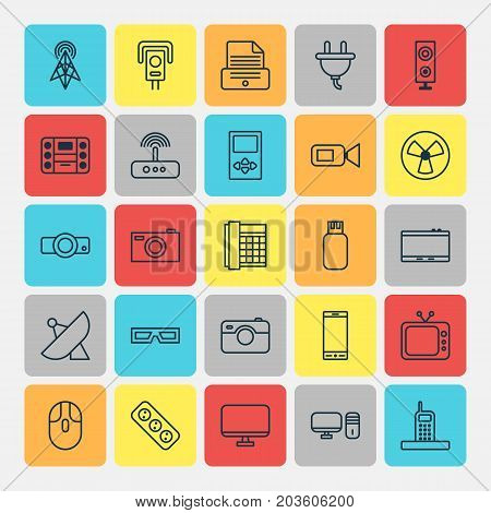 Hardware Icons Set. Collection Of Presentation, Wireless Router, Control Device And Other Elements
