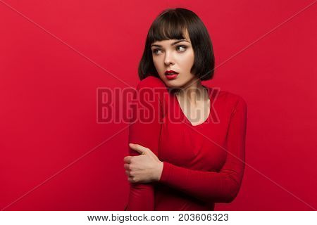 Woman in fear. Afraid young female. Fashion model in apprehension, scared beautiful lady, danger concept