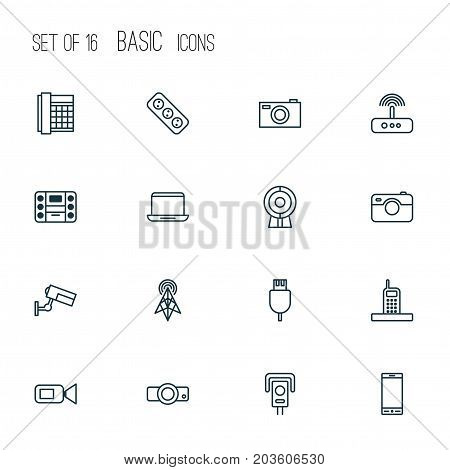 Hardware Icons Set. Collection Of Broadcast, Boombox, Cctv And Other Elements
