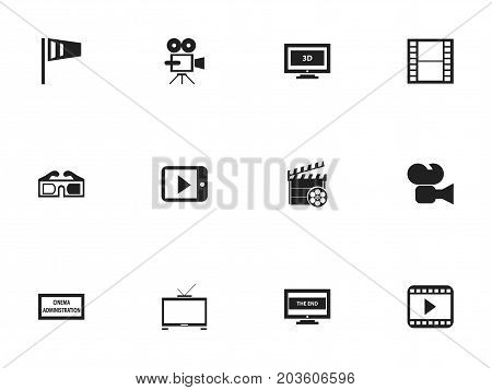 Set Of 12 Editable Cinema Icons. Includes Symbols Such As Filmstrip, Tablet Play, The End And More