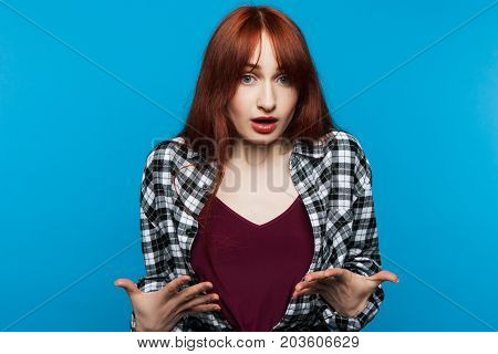Not guilty woman. Indignation girl. Surprised young female, false accusation, insult concept