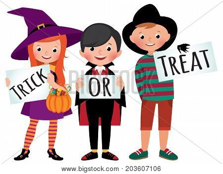 Group of children in Halloween party costumes hold a board with an inscription trick of treat vector cartoon illustration