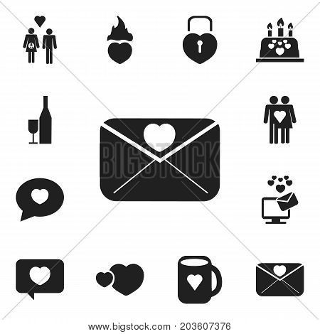 Set Of 12 Editable Love Icons. Includes Symbols Such As Tea Mug, Love Message, Fire Loving And More