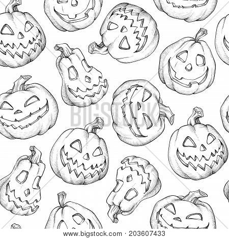 Pattern Halloween vector. Funny pumpkins. Decorating for the holidays on white backgound