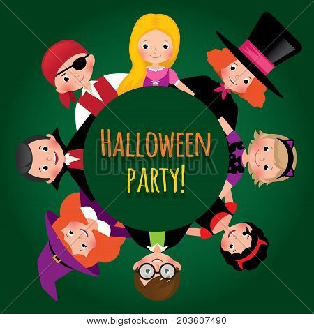 Group of funny children in carnival costumes of Halloween. Invitation to the party Halloween. Stock vector illustration.