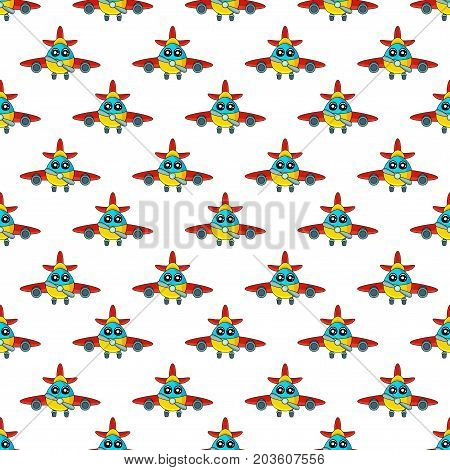Cute kids pattern for girls and boys. Colorful aircraft on the abstract bright background create a fun cartoon drawing.Urban backdrop for textile and fabric. Aircraft pattern. Boy pattern. Childish pattern. Kids patte