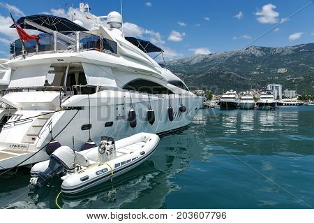 MONTENEGRO, BUDVA, JULY, 13, 2013 - View of luxury yachts at Porto Montenegro in Tivate of the Boka Kotorska bay, Montenegro