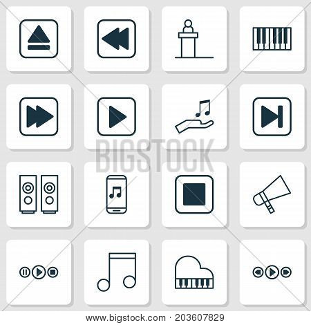 Music Icons Set. Collection Of Note Donate, Rewind Back, Octave And Other Elements