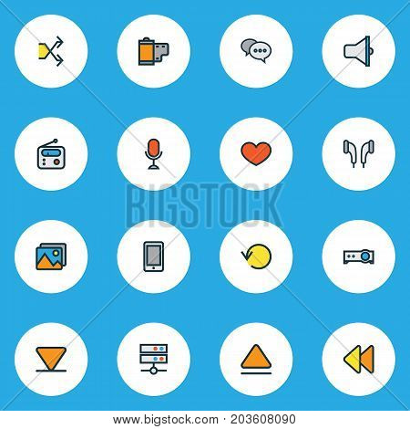 Music Colorful Outline Icons Set. Collection Of Bullhorn, Headphone, Gallery And Other Elements