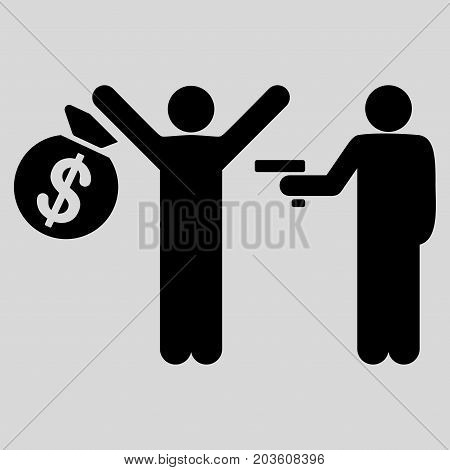 Armed Robbery vector icon. Flat black symbol. Pictogram is isolated on a light gray background. Designed for web and software interfaces.