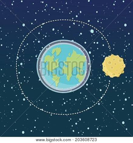 Vector cartoon cute illustration Earth with Moon moving on orbit. Space dark sky with shiny stars