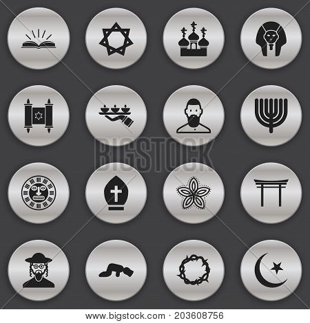 Set Of 16 Editable Faith Icons. Includes Symbols Such As Shinto, Christ Wreath, Sarcophagus And More