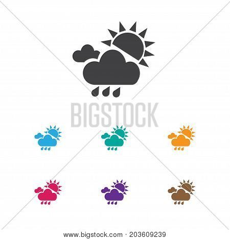 Vector Illustration Of Climate Symbol On Sunshine Hail Icon