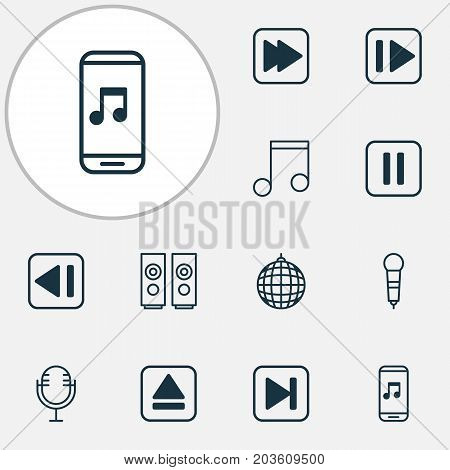 Multimedia Icons Set. Collection Of Extract Device, Last Song, Note And Other Elements