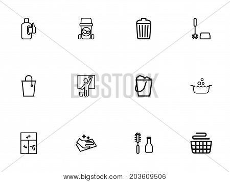 Set Of 12 Editable Cleanup Outline Icons. Includes Symbols Such As Basin, Cleaning Window, Bucket And More