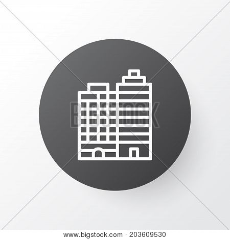 Premium Quality Isolated Hotel Element In Trendy Style.  Buildings Complex Icon Symbol.