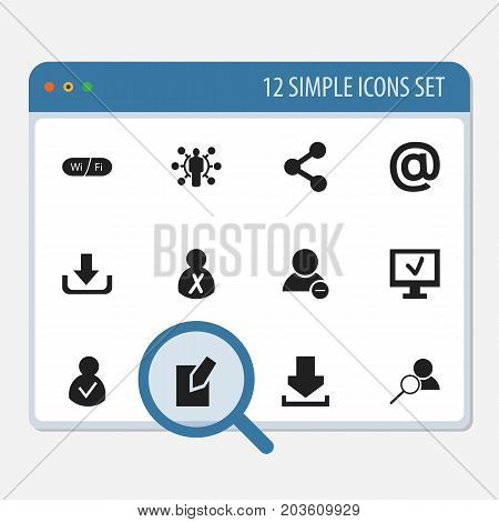 Set Of 12 Editable Internet Icons. Includes Symbols Such As Wifi, Magnifier, Blocked Person And More