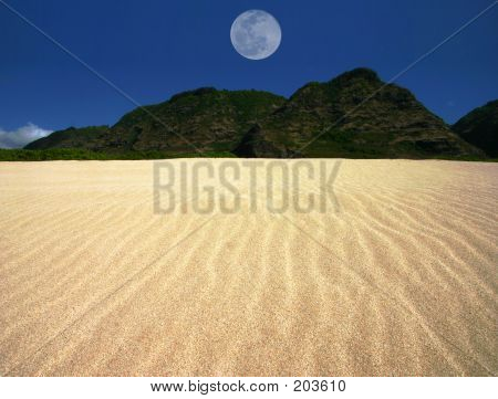 Rippled Sand Landscape Centered Moon